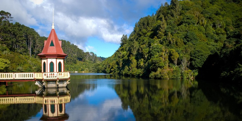Zealandia promotion only - Valve tower, lower lake at Zealandia © Juliane Golledge