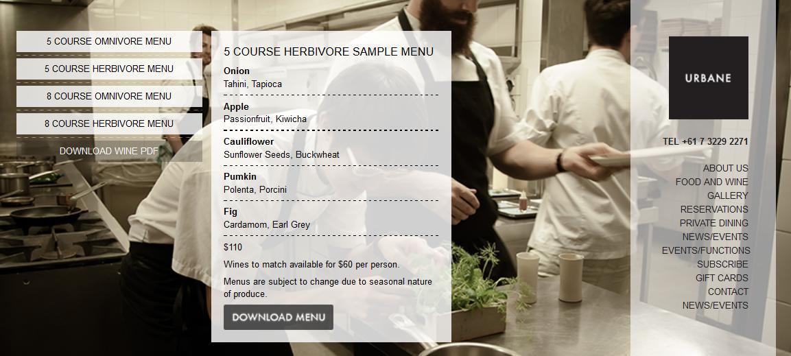 5 course herbivore sample menu, Urbane Restaurant Brisbane
