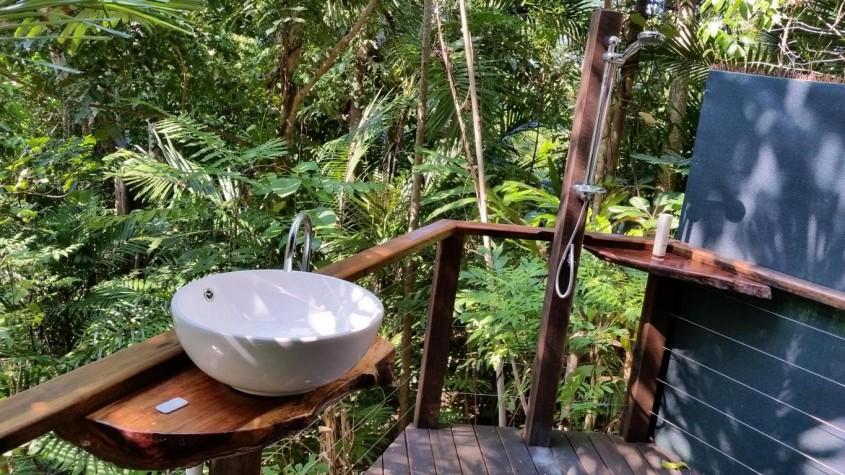 outside bathroom middle rainforest, Sanctuary Retreat Mission Beach near Cairns