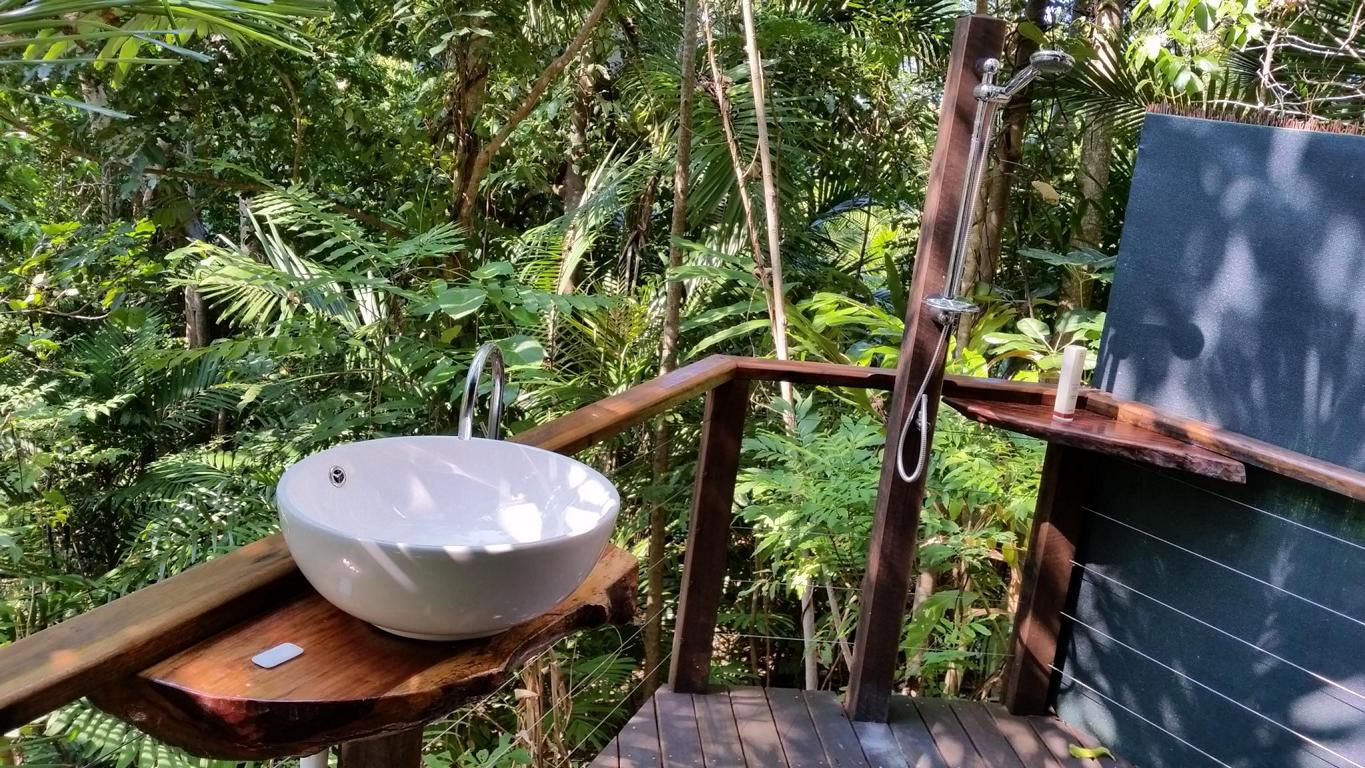 outside bathroom middle rainforest, Sanctuary Retreat Mission Beach near Cairns