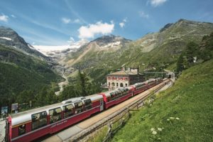 Bernina Express train starting in Chur