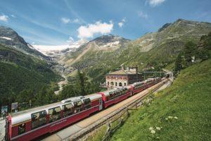 Bernina Express train starting in Chur