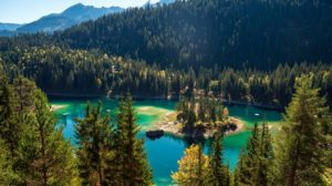 Caumasee in the alpine village of Flims